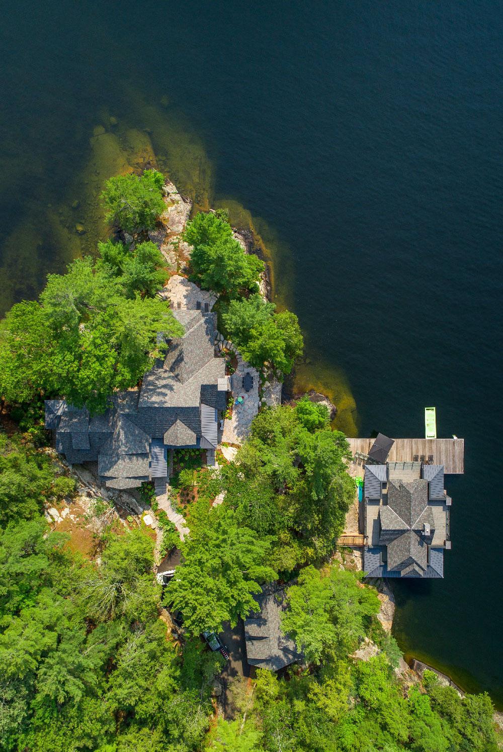 ariel of landscaped island